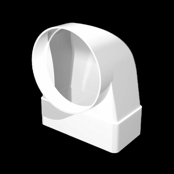 Conector din plastic colț, conductă plată cu flanșă.